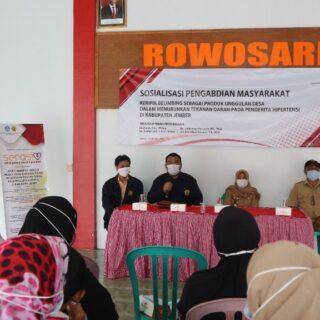 Gambar 1. Penjelasan Sosialisasi Program Pengabdian kepada Masyarakat oleh Ketua Program  Pengembangan Desa Binaan bersama dengan Tim dan Kepala Desa Rowosari